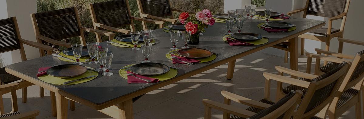 Clifton Nurseries barlow tyrie monterey cermanic teak dining table 300cm