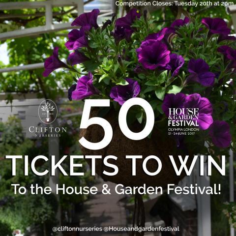 Clifton Nurseries Win Tickets to House & Garden Festival