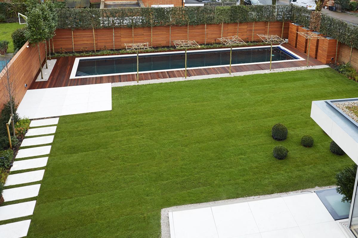Contemporary Townhouse Garden - Aerial View
