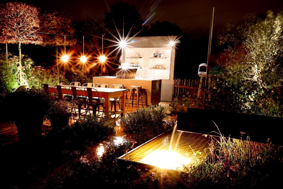 Clifton Nurseries Surrey Show Garden Outdoor Kitchen at Night
