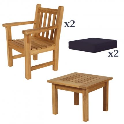 Clifton Nurseries Barlow Tyrie London Teak garden furniture armchair set