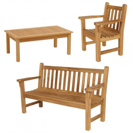 Clifton Nurseries Barlow Tyrie London Armchair Bench Teak Garden Set