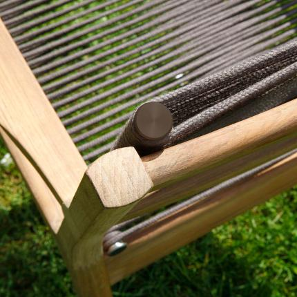Clifton Nurseries barlow tyrie monterey teak brown cord outdoor dining chair detail