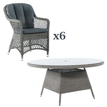 Clifton Nurseries alexander rose monte carlo  6 seater open-weave outdoor dining set