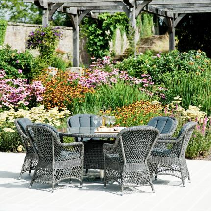 Clifton Nurseries alexander rose monte carlo 6 seater grey weave outdoor dining set