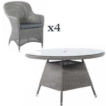 Clifton Nurseries alexander rose grey weave outdoor dining set 4 seater