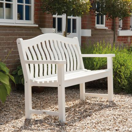 Clifton Nurseries Alexander Rose new england white painted bench 3 seater