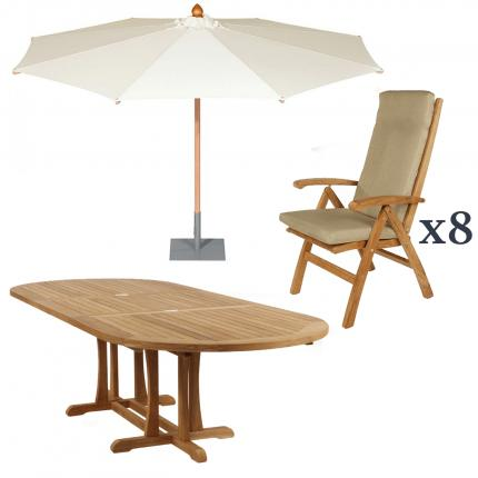 Clifton Nurseries Barlow Tyrie Stirling Teak Extending Oval 8 seater dining table