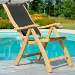 Clifton Nurseries alexander rose bengal 6 seater dining set dark grey sling recliner chair