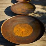 Clifton Nurseries Curved Corten Steel Water Bowl sizes