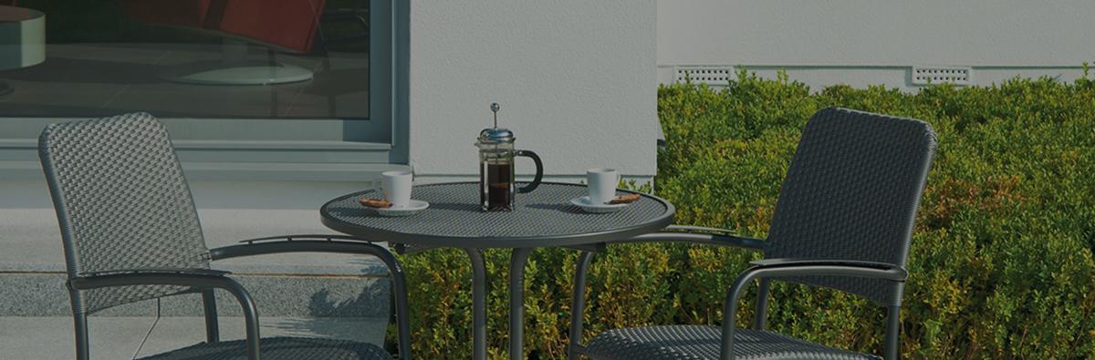 Clifton Nurseries alexander rose portofino grey metallic bistro table