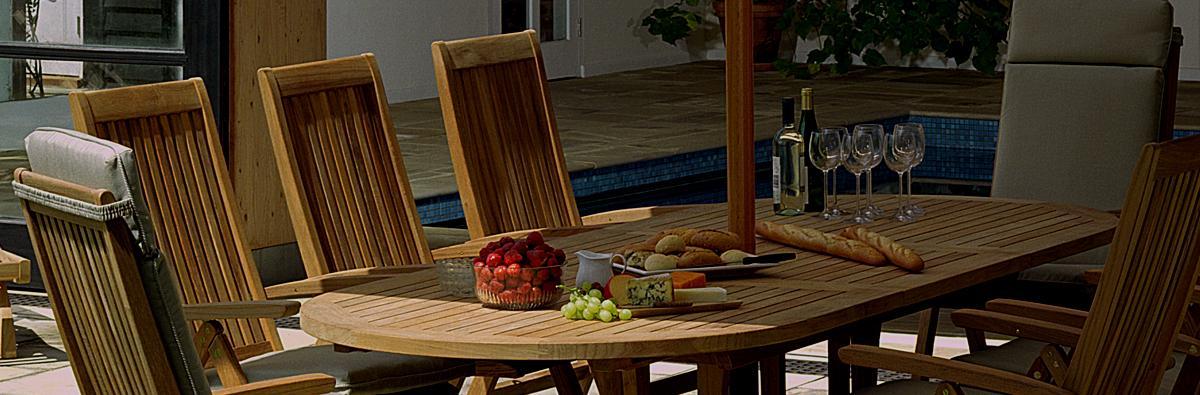 Clifton Nurseries barlow tyrie stirling teak oval extending 8 seater dining set