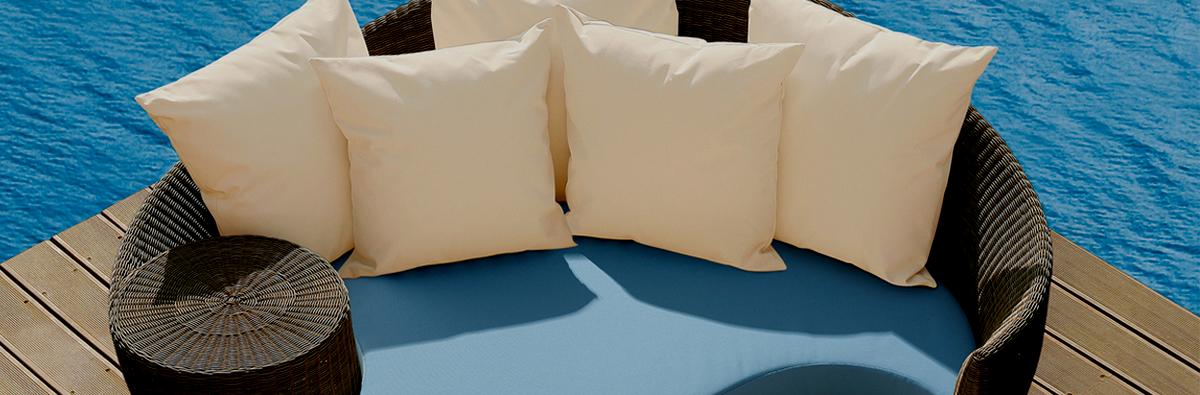 Clifton Nurseries barlow tyrie dune daybed java base sky blue cushions