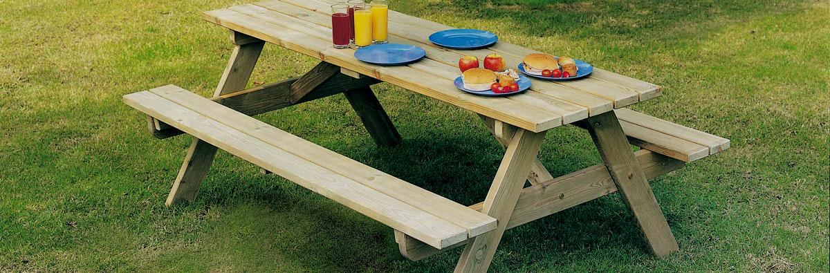 Clifton Nurseries Alexander Rose Pine Collection Worburn Picnic Table 6ft Garden Furniture
