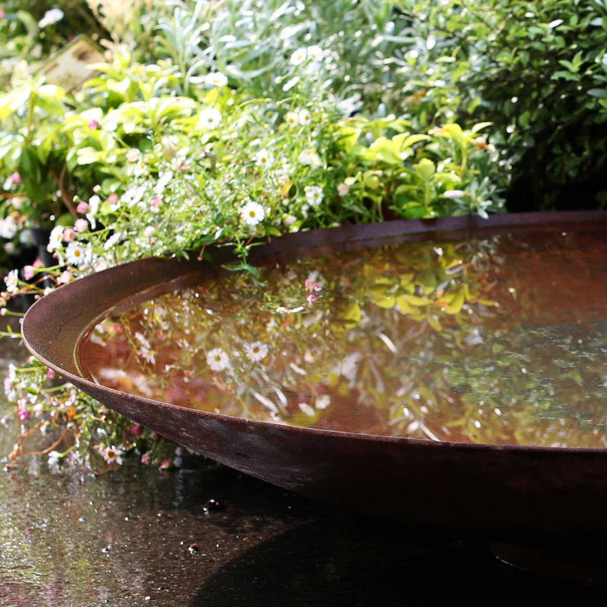 Corten Steel Garden Water Bowl