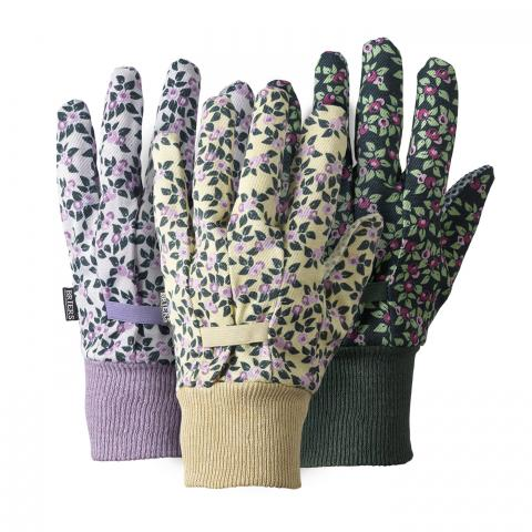 Clifton Nurseries briers gloves cotton grip ladies floral plum triple pack