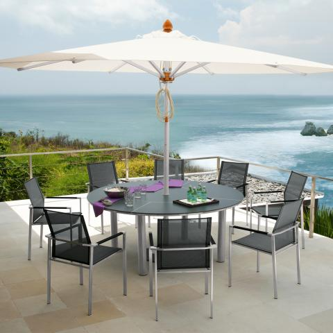 Clifton Nurseries Barlow Tyrie 8 Seat Mercury ceramic garden dining set