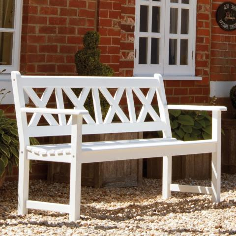 Clifton Nurseries Alexander Rose new england drachmann 5ft white bench