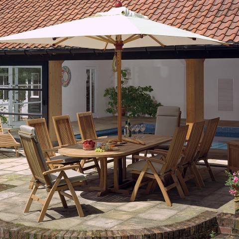 Clifton Nurseries Barlow Tyrie Stirling Teak extending 8 seat dining set