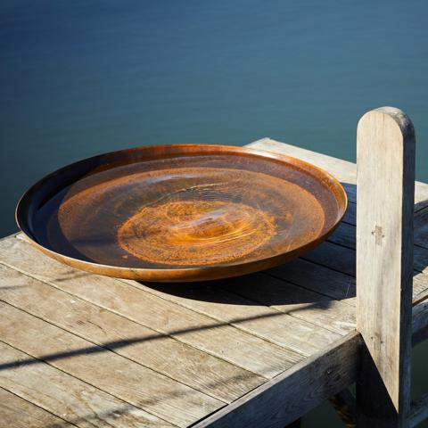 Clifton Nurseries Curved Corten Steel Water Bowl