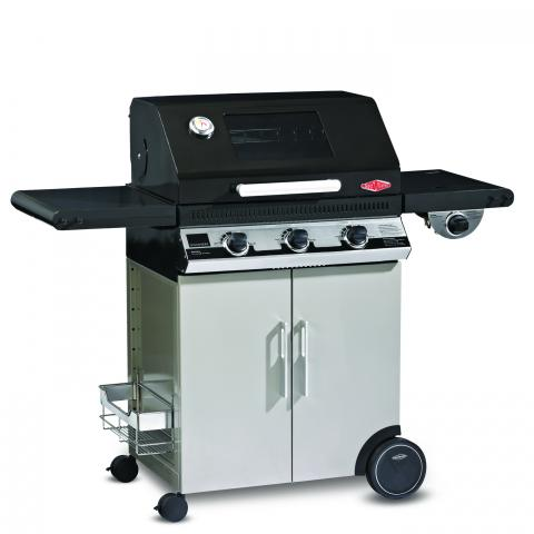 Clifton Nurseries Discovery 1100e 3 Burner BBQ Hood Cabinet Trolley with Side Burner