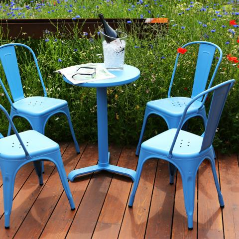 Clifton Nurseries tolix metal bistro outdoor set blue