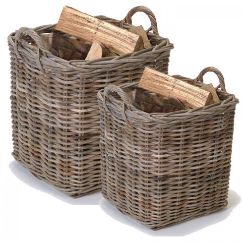 Clifton Nurseries trading set of two square log baskets