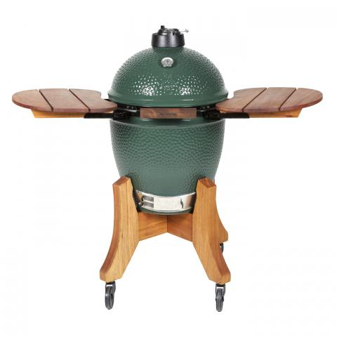 Clifton Nurseries Big Green Egg - Large Egg with Royal Mahogany Folding Side Shelves and Base