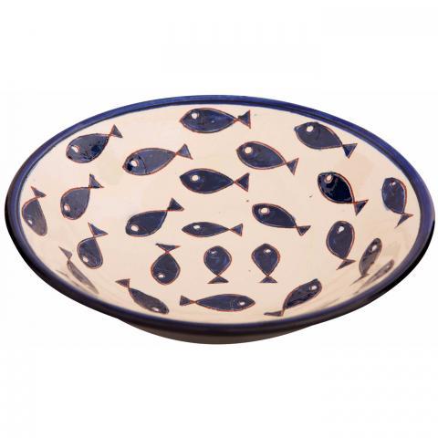 Clifton Nurseries Verano Spanish Ceramics Blue Fish – Pasta Bowl
