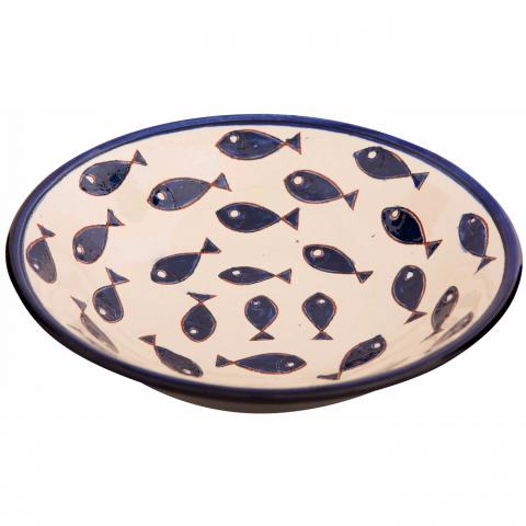 Clifton Nurseries Verano Spanish Ceramics Blue Fish – Pasta Bowl